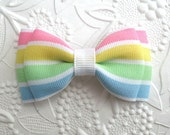 Toddler Hair Bows ~ Pastel Stripe ~ Tuxedo Style Bow ~ Bows for Little Girls