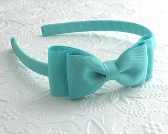 Girls Headband ~ Aqua Bow on Hard Headband, Preppy Headband, Bow Headband, Toddler Headband, Girls Hard Headband, Ribbon Wrapped Headband