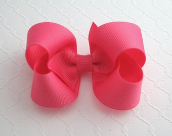 "3"" Hot Pink Boutique Hair Bow ~ Preppy Hair Bows ~ Baby / Toddler Hair Bows ~ Classic Hair Bows"