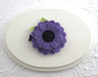 Purple Felt Flower Hair Clip, Toddler ~ Little Girls Hair Clippie
