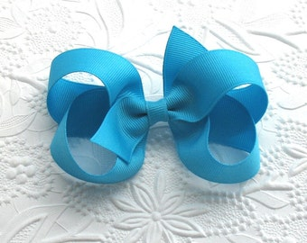 "Turquoise Boutique Bow, 4"" Turquoise Bow, Boutique Hair Bow for Toddlers, Girls, Teens, Adults"