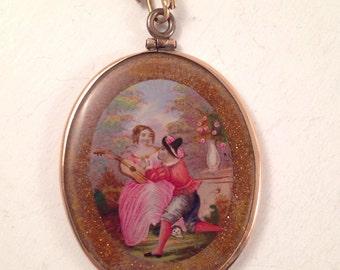 SALE - Antique Victorian Goldstone Miniature Portrait in 10k Gold Frame