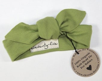 SALE | Organic Stretch Knit Head Tie in Green | Babies Organic Headband | Baby Girl | Infant Gift | Accessory | Hair Tie