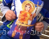 St Michael KIT Archangel Fabric with prayer - Catholic Saint Doll Softie or Applique