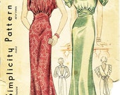 Vintage 1930s Dress Pattern - Simplicity 2229 - Misses' Art Deco Evening Dress in Two Variations - SZ Bust 32