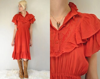 70s Prairie Dress  //  Red Gauze Dress  //  THE CHERRY