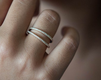 Eternity band White diamonds and 18k rose gold ring