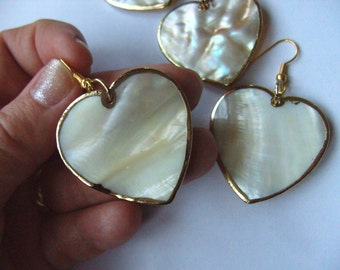 Gorgeous, SHELL, earrings, golden trim, electro plated, cream white, peach cream ,pearl, love heart, by NewellsJewels on etsy