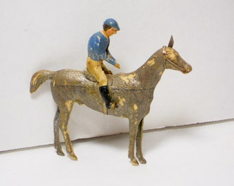 Rare Vintage Dresden Horse and Jockey Christmas Ornament, Holiday