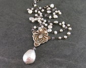 Reserved for LadyA* Victorian pearl necklace, handmade fine silver, ametrine and white baroque pearl bridal necklace-OOAK
