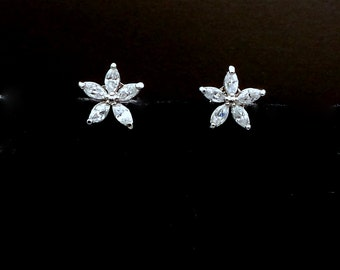 petite bridesmaid gift bridal wedding prom christmas party mini flower five pedal cubic zirconia luxury post white gold silver earrings stud