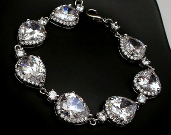 wedding jewelry bridal bracelet bridesmaid gift party christmas pageant pave halo rhodium Clear white teardrop pear cubic zirconia bracelet