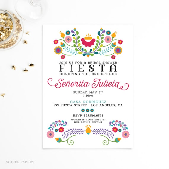 Bridal Shower Invitation Mexican Fiesta By Soireepapery On