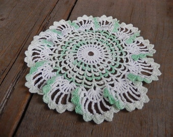 Vintage Doily Romantic Cottage Chic Decor Handmade Mint Green White Ombre Kitchen or Nursery Decor