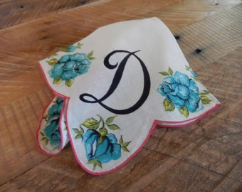 "Vintage Handkerchief Ladies Blue Roses Monogram ""D"" Flower Hanky Gift Fall Home Decor AMarigoldLife"