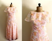 SALE vintage dress maxi 1970s womens clothing peach retro floral print ruffle formal gown size small s 4 6