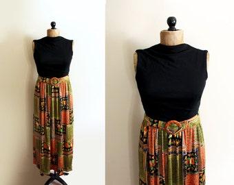 vintage dress 1970s clothing maxi black folk floral print orange green womens size small s medium m