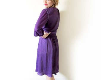 SALE vintage dress 1980s purple sparkly womens clothing rope size small s medium m