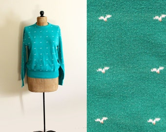 vintage sweater womens clothing bird print teal green seagull 1980s preppy size large l