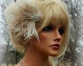 Wedding Hair Accessory, Bridal Fascinator, Feather Hair Clip, Wedding Hair Comb, Bridal Hair Accessories, Ivory Bridal Hair Clip, Weddings