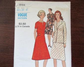 60s vintage Vogue uncut Pattern 8104 - A-line dress, jacket,  size 161/2, large