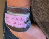 I love you to the moon and back, Personalized Bracelet fused glass wrap bracelet on hand dyed silk ribbon