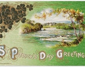 St. Patrick's Day Greetings - Antique Postcard - St. Patrick's Day, Saint Patrick, Irish, Ireland, Shamrocks, St. Patick's Day Postcards