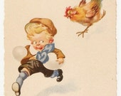 Joyeuses Paques - Antique French Easter Postcard - Easter, Easter Postcards, Easter Cards, Children, Boys, Chickens, French, Ephemera