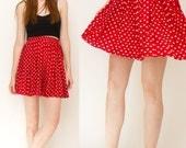 Cherry Red and White Polka Dot Pleated CLIO Mini Skirt Size Medium