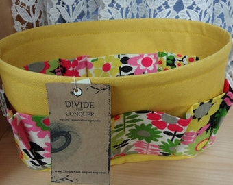 Purse ORGANIZER Insert SHAPER / Brilliant Blossoms on Yellow / Size SMALL / 10.5 x 3.5 x 6H oval / Sturdy / Ready to Ship