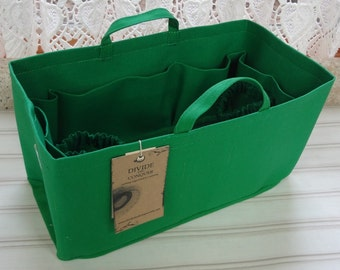 Fits Neverfull GM/Ready to ship/ Purse-Diaper Bag Organizer Shaper/ 14.5 x 7 x 7H/Kelly Green/With stiff wipe-clean bottom & 2 extra options