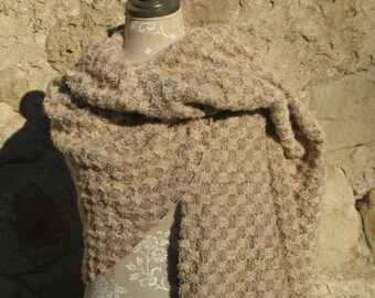Blanket Scarf, Oversized Shawl, Handwoven Camel Loop Mohair wool blanket scarf, Overzized Sand color Blanket Scarf, Plaid blanket scarf