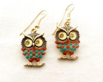 Dangle Owl Earrings with Rhinestone eyes