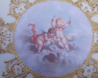 Antique French LImoges Gold Accent Cherubs Plate