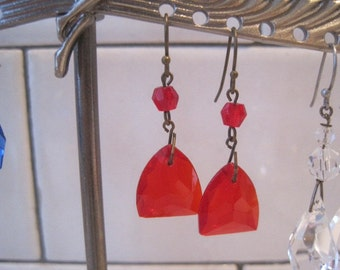 Vintage Updated Czech Red Drop Pierced Earrings from Original Screw On Earrings FREE SHIP
