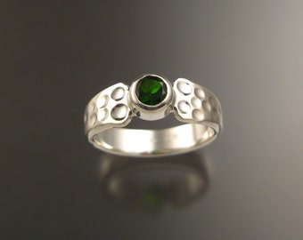 Chrome Diopside ring Sterling Silver Moonscape ring made to order in your size Emerald substitute