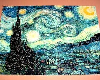 Van Gogh Starry Night Puzzle, handcut 9 x 12 with 189 Pieces Ready to Ship with Free Shipping