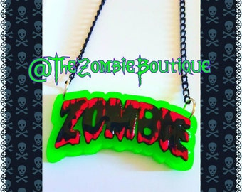 Bloody Zombie glow in the dark necklace