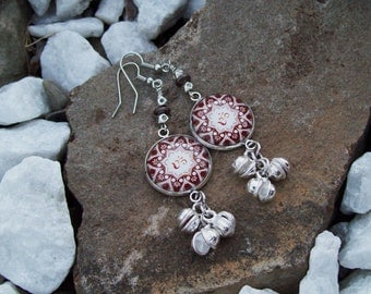 Om cabochon earrings with silver bali beaded dangles, cluster earrings, OHM yoga New Age, Bohemian Hippie, Yoga