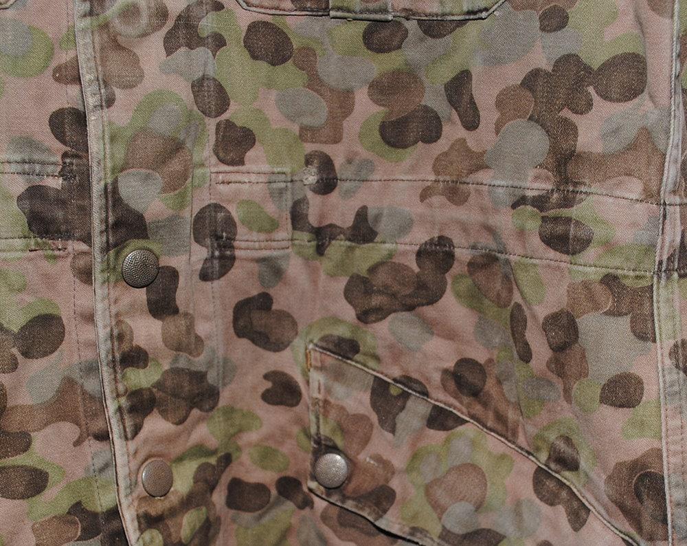 Vintage Austrian Camo Dark Brown & Green 100% Cotton Hooded Utility Jacket - Large
