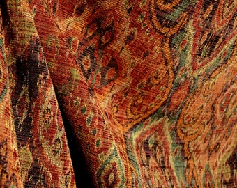 M9842 Garnet Rust Orange Green Black Tapestry Damask Upholstery Fabric