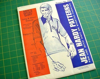 Vintage 70s Jean Hardy Pattern 410 Men's Sport Polo Shirts for Knit Fabrics - Long or Short Sleeves Multi Size S thru XL 36 - 48 Uncut