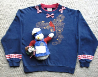Ugly Christmas Sweater Sweatshirt with 3D Snowman and Sparkling Cardinal