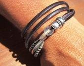 Women leather bracelet, genuine dark brown leather bracelet, custom handmade bracelet, leather jewelry trend