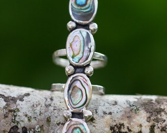 Abalone Sterling Silver Statement Ring size 8