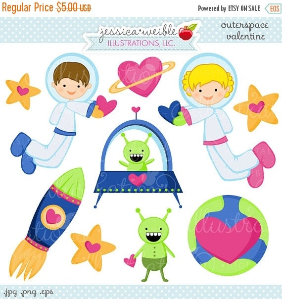 SALE Outerspace Valentine Cute Valentine Clipart - Commercial Use OK - Valentine Graphics, Valentine Clipart, Outerspace Valentine