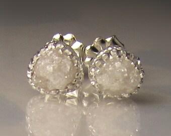 Natural Rough Diamond Earrings, Raw White Diamond Earrings, 1.90CTS