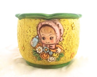 Vintage Ceramic Planter in Yellow and Green with Cute Little Girl Illustration, D-Ann Japan (G4)