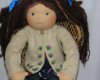 Waldorf style Doll Sweater for 20 to 22 inch doll RTG hand knit and hand embroidered