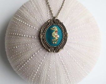 Mr. Seahorse- hand embroidered necklace, under the sea, ocean, sea life, aquarium
